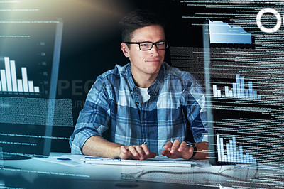 Buy stock photo Cropped shot of a male computer programmer working on new code