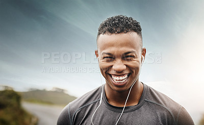 Buy stock photo Shot of young people exercising outdoors