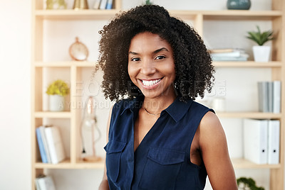 Buy stock photo Cropped portrait of an attractive young businesswoman standing in her office