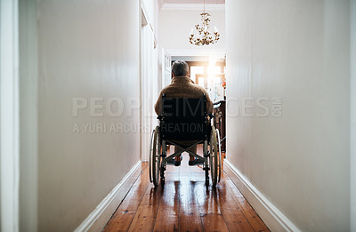 Buy stock photo Rearview shot of a senior woman sitting in her wheelchair at home