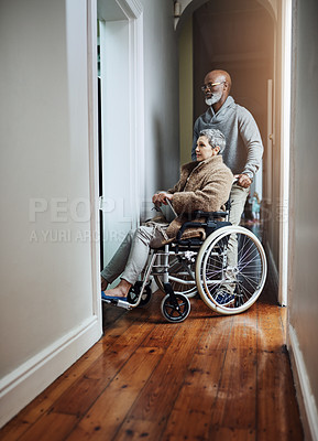 Buy stock photo Shot of a senior person sitting in a wheelchair