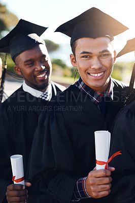 Buy stock photo Shot of students standing together on graduation day