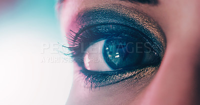 Buy stock photo Closeup shot of a beautiful young woman's eye against a bright background