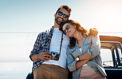 Buy stock photo Cropped shot of an affectionate couple taking in the sights while enjoying a road trip