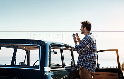 Buy stock photo Shot of young people enjoying a roadtrip