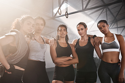 Buy stock photo Portrait of a group of fit young women standing together at the gym