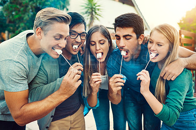 Buy stock photo Shot of a group of young friends posing together while eating marshmallows on sticks outside