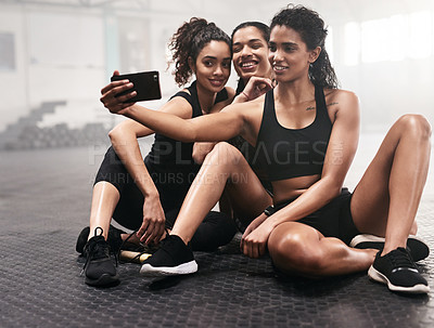Buy stock photo Shot of a group of sporty young women taking selfies together in a gym