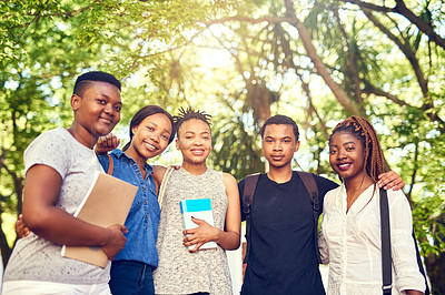 Buy stock photo Cropped portrait of a group of young university students on campus