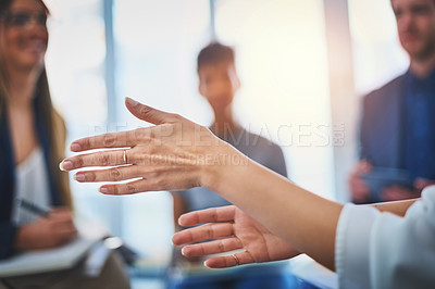 Buy stock photo Closeup shot of an unrecognzable businesswoman's hands gesturing during a meeting with her colleagues at work