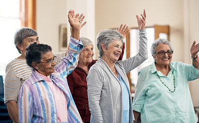 Buy stock photo Cropped shot of a group of senior woman taking a fitness class in their retirement home