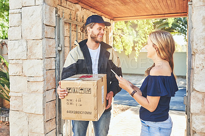 Buy stock photo Cropped shot of a young male courier out on delivery