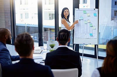 Buy stock photo Shot of a young businesswoman giving a demonstration on a white board to her colleagues in a modern office