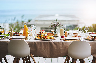 Buy stock photo Shot of a beautiful table setting outdoors