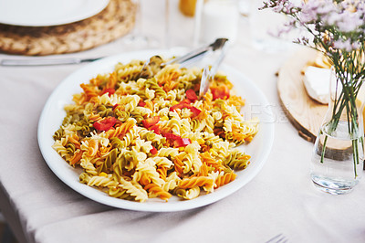 Buy stock photo High angle shot of a delicious plate of pasta on a table outdoors