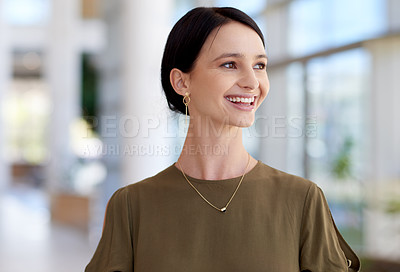 Buy stock photo Cropped shot of an attractive young businesswomen looking thoughtful in her office