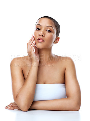 Buy stock photo Portrait of a beautiful young woman striking a pose against a white background