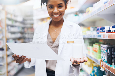 Buy stock photo Cropped shot of a female pharmacist recommending medication