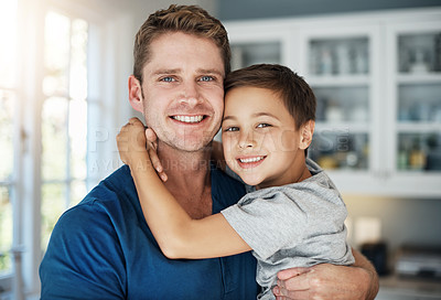 Buy stock photo Portrait of a man and his little boy at home