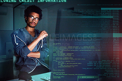 Buy stock photo Shot of a young programmer working on computer code at night