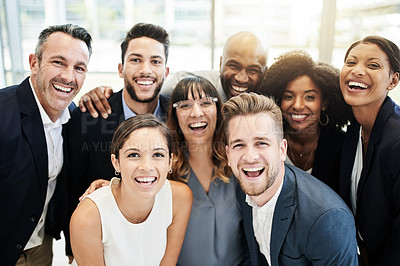 Buy stock photo Portait of a group of businesspeople standing together in an office