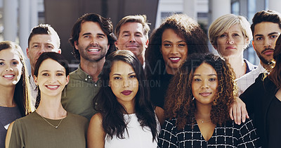 Buy stock photo Cropped shot of a group of businesspeople standing in their workplace
