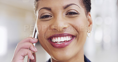 Buy stock photo Cropped shot of a young beautiful businesswoman making a phonecall in a modern office