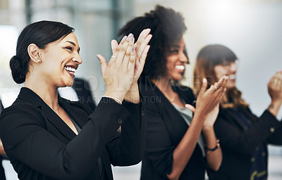 Buy stock photo Cropped shot of a group of businesspeople applauding during a seminar in the conference room