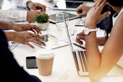 Buy stock photo Closeup shot of a group of businesspeople having a meeting in an office
