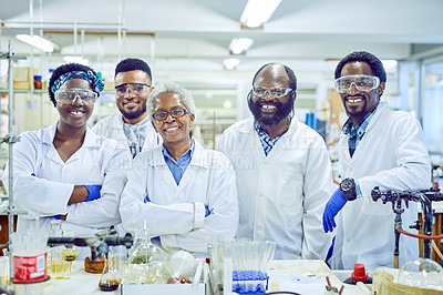 Buy stock photo Portrait of a group of scientists working together in a lab