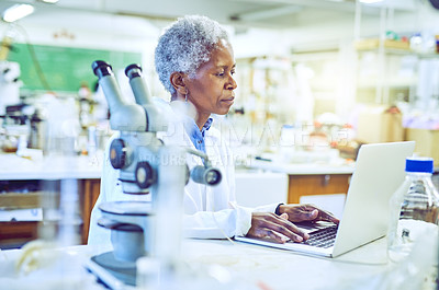 Buy stock photo Shot of a mature scientist working on a laptop in a lab