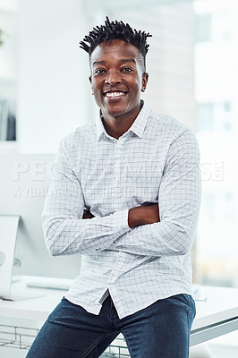 Buy stock photo Portrait of a young businessman in an office