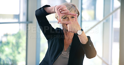 Buy stock photo Portrait of a mature businesswoman making a finger frame in an office