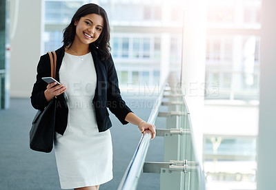 Buy stock photo Cropped portrait of an attractive young businesswoman in an office