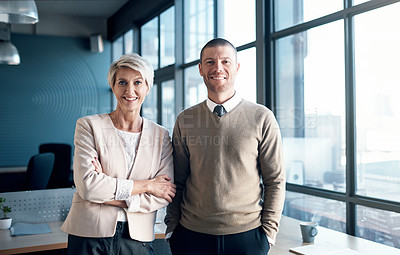 Buy stock photo Portrait of two mature businesspeople standing together