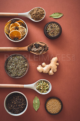 Buy stock photo Shot of an assortment of spices