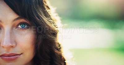 Buy stock photo Cropped portrait of an attractive young woman feeling confident in a public park