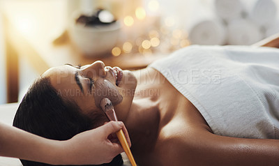 Buy stock photo Closeup shot of a woman getting an exfoliating massage at a spa