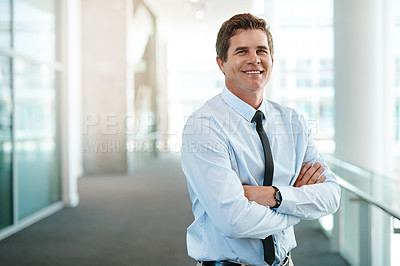 Buy stock photo Portrait of a handsome businessman standing in an office