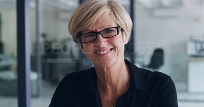 Buy stock photo Portrait of a mature businesswoman in an office