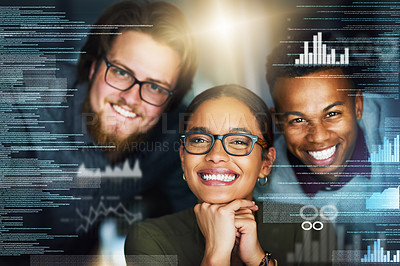 Buy stock photo Portrait of a cheerful young group of businesspeople working on a computer together in the office at night