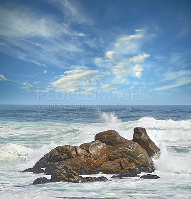 Buy stock photo Rocky coast of Western Cape, South Africa.