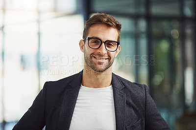 Buy stock photo Portrait shot of a handsome businessman at the office