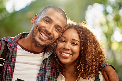 Buy stock photo Cropped portrait of an affectionate young couple standing outside on campus