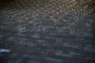Buy stock photo Still life shot of the interior of an exam room with arranged tables and chairs