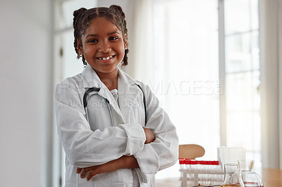 Buy stock photo Portrait of a young girl dressed as a doctor