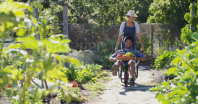 Buy stock photo Portrait of a handsome young male farmer pushing his wife around in a wheelbarrow while working on their farm