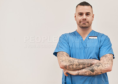 Buy stock photo Portrait of a confident medical diagnostic specialist standing against a white background