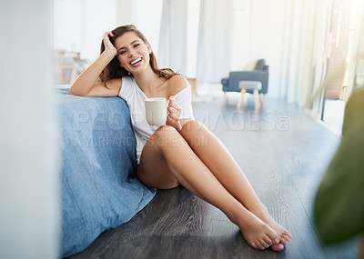 Buy stock photo Full length shot of a beautiful young woman relaxing in her bedroom at home
