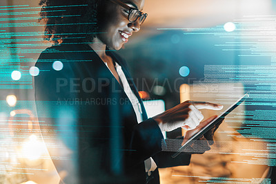 Buy stock photo Shot of a young programmer using a digital tablet in an office at night